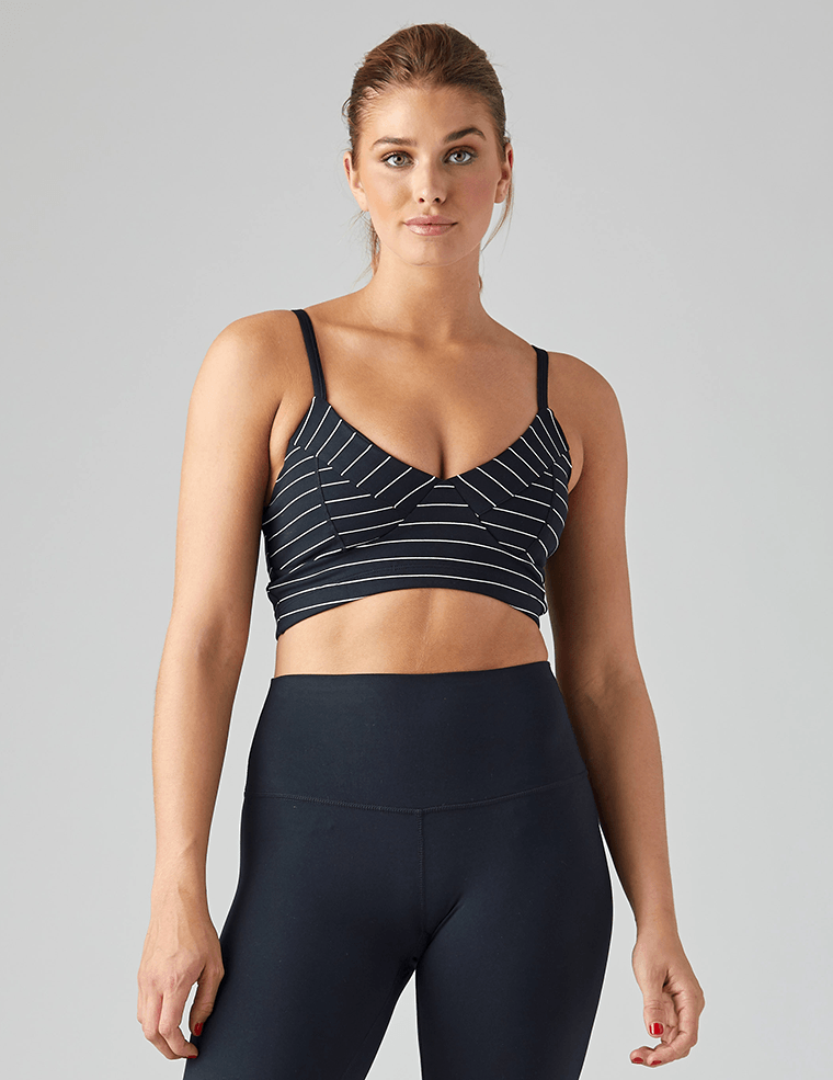 Vintage Vinyasa Bra: Black and White Pinstripe