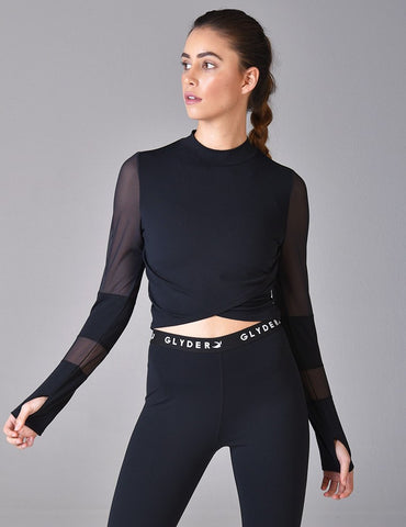 Black Moon Crop Top: Black