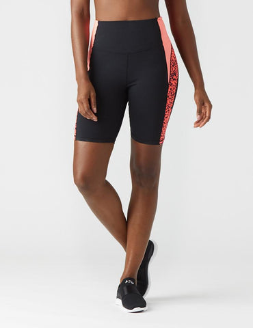 Curve Bike Short: Black/Pink Leopard/Hot Coral