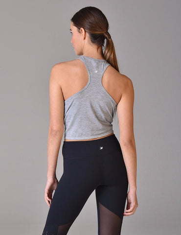Knot Crop Tank: Grey Heather