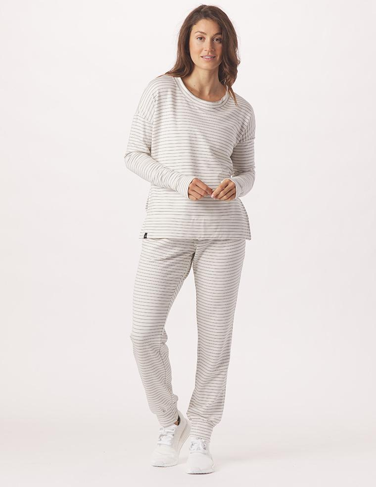 Halfway Jogger: White/Charcoal Heather Stripe