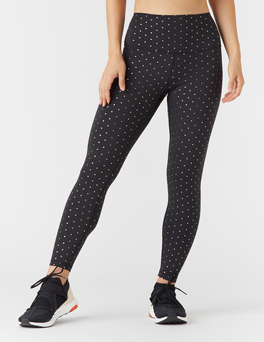 High Power Legging Print: Black / Rosewater Gloss Mini Dot