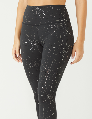 High Power Legging Print: Black Stardust Gloss