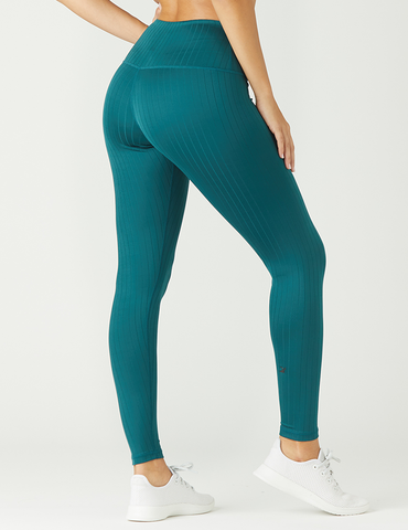 High Power Legging: Dark Teal Flat Rib