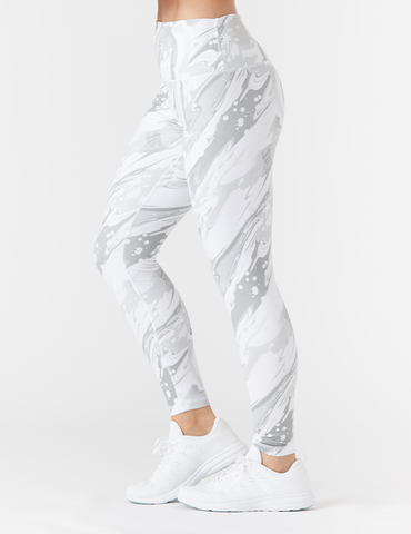 High Power Legging Print: Granite Marble Drip