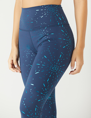 High Power Legging Print: Navy Stardust Gloss