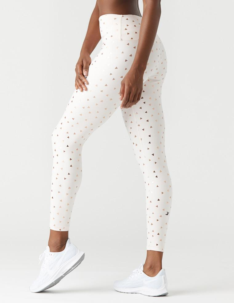 High Power Legging Print: Soft Blush/Rose Gold Gloss Triangle