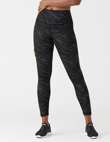 High Power Legging Print: Black Zebra Stripe