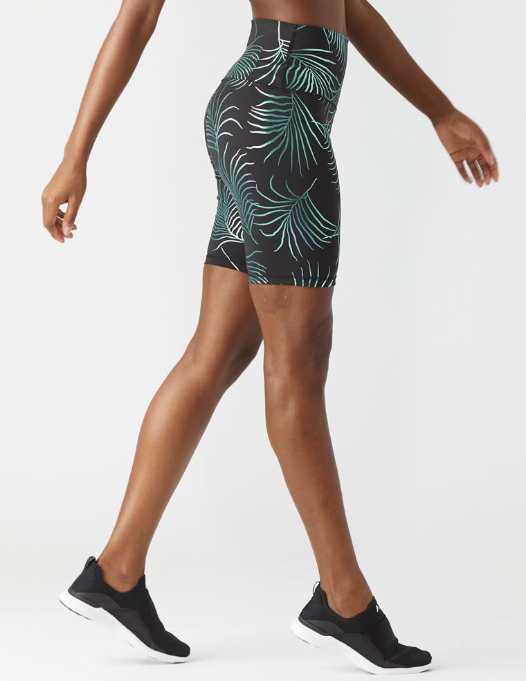 High Power Bike Short: Black/Evergreen Palm Gloss Print