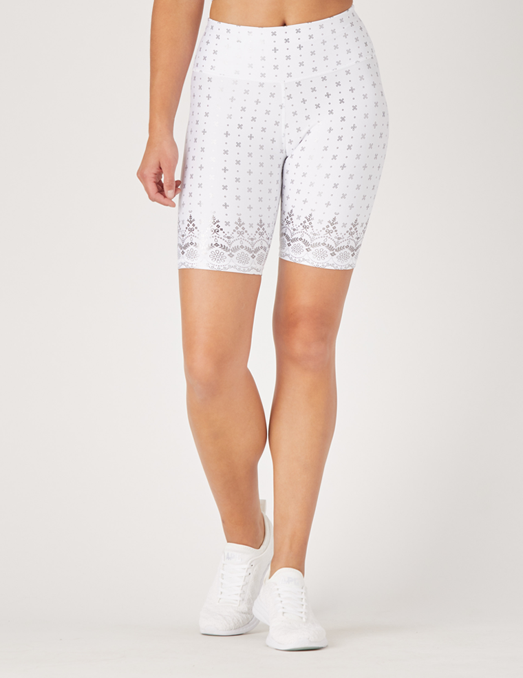 High Power Bike Short: White Gloss Wildflower Lace Print