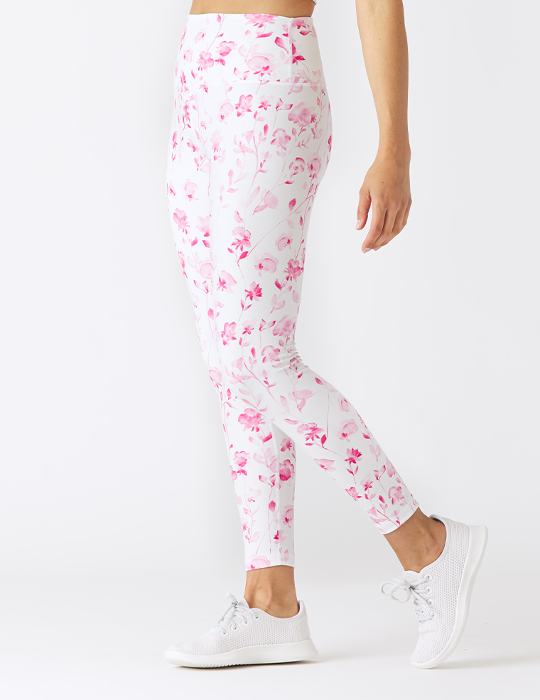 High Power Legging Print: Pink Watercolor Rose