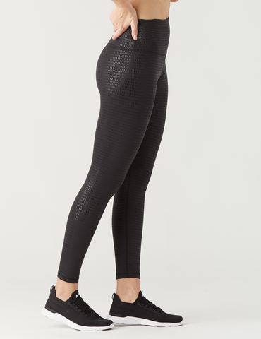 High Power Legging Print: Black Pebble Gloss