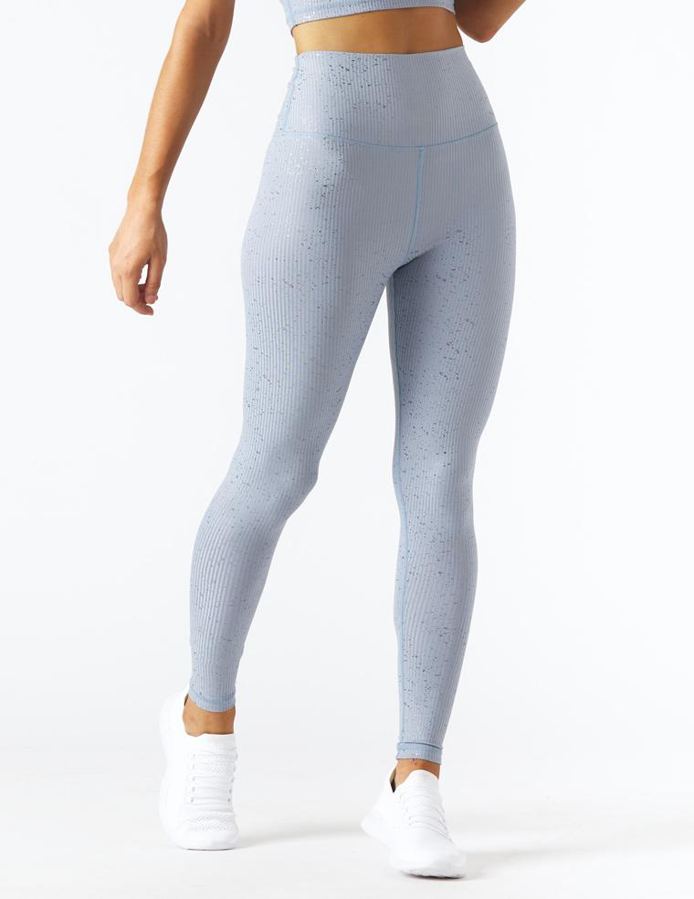 High Power Legging II Print: French Blue/Silver Speckle Gloss