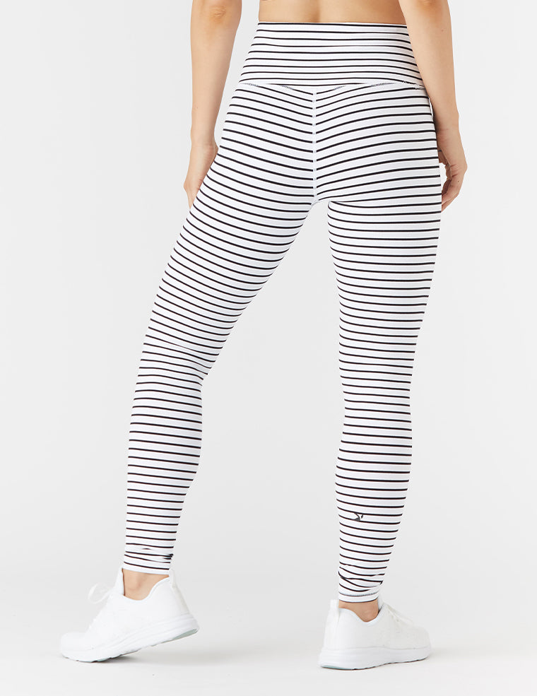 High Power Legging: White / Black Stripe