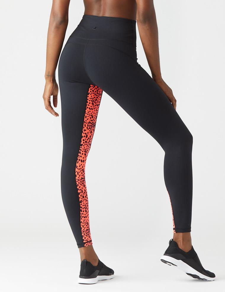 Inside Out Legging: Black/Hot Coral Leopard