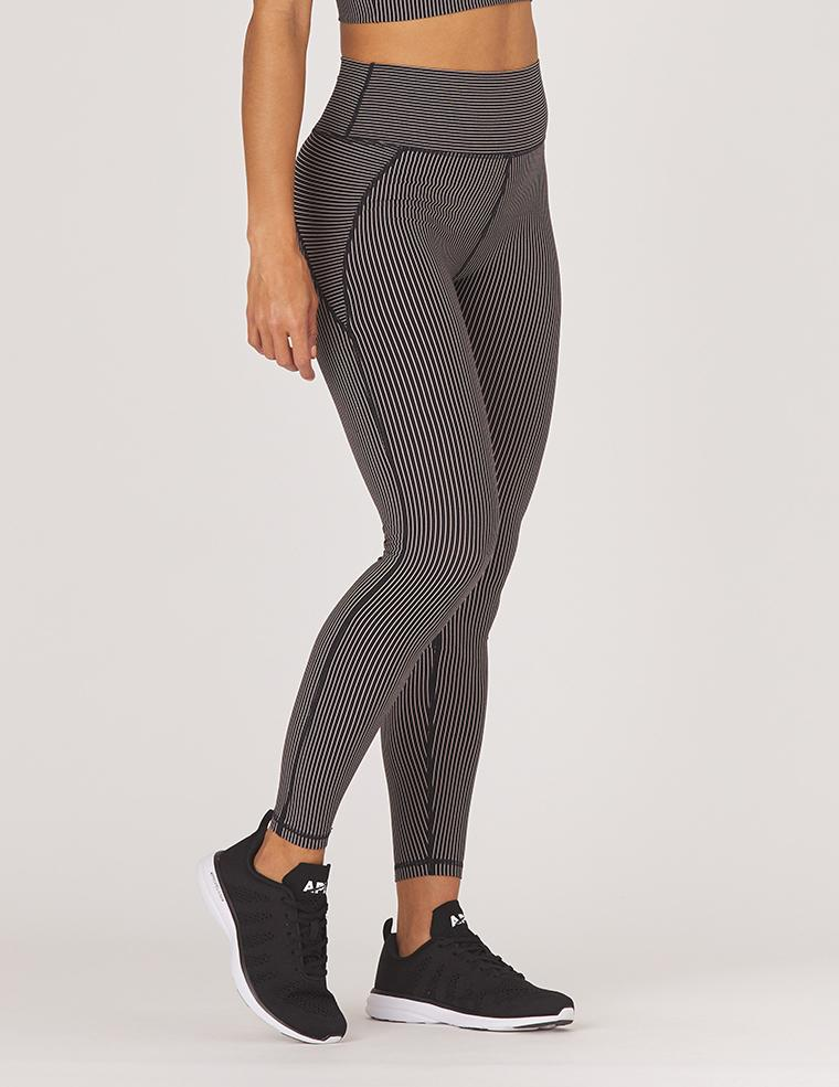 Linear Legging: Black / Adobe Rose Stripe
