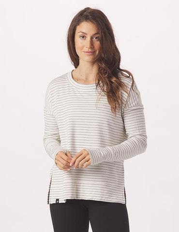 Lounge Long Sleeve: White/Charcoal Heather Stripe