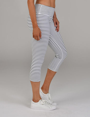 Mantra Crop: White & Black Stripe