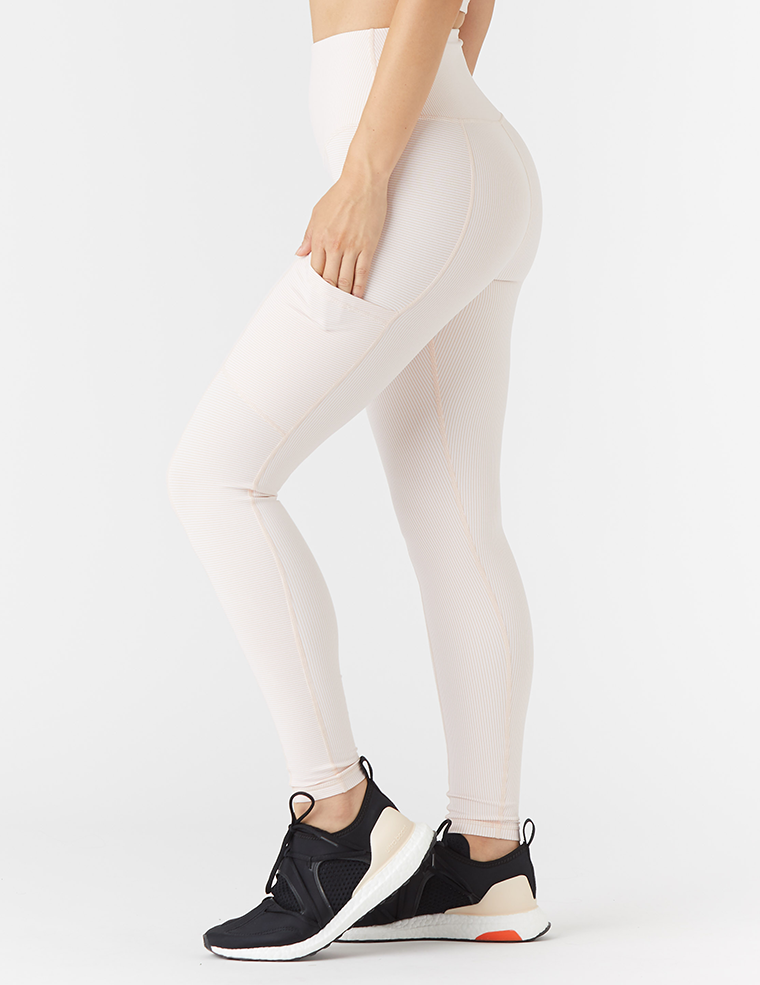 Peak Legging: Rosewater / White Stripe
