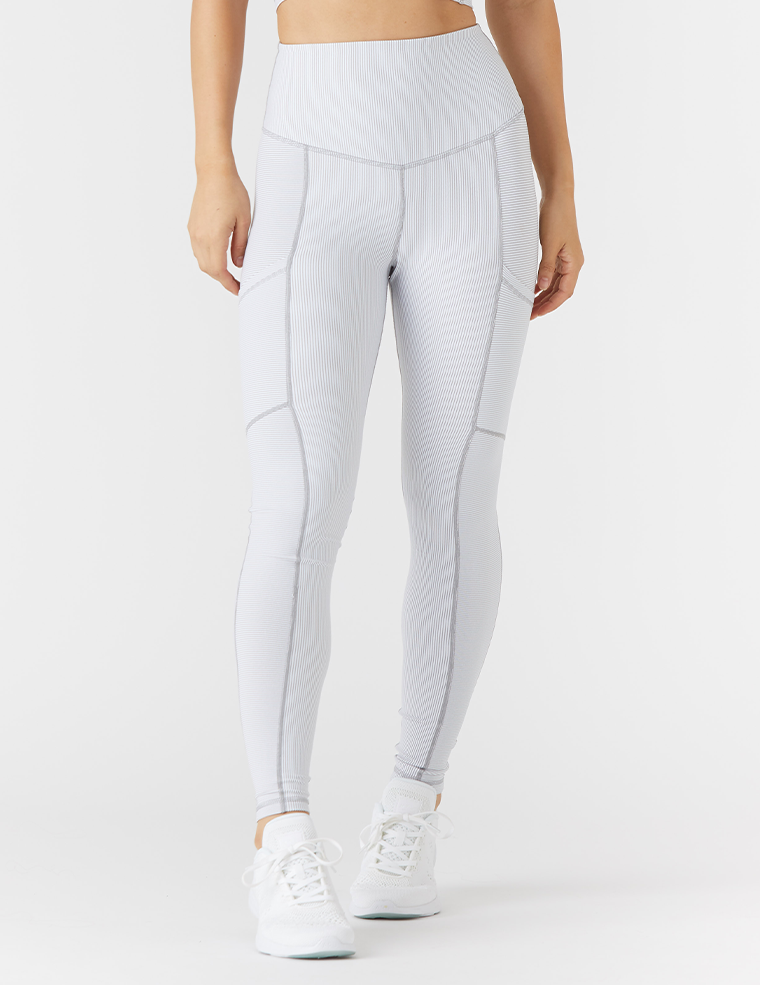 Peak Legging: White / Granite Stripe