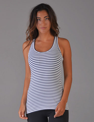 Performa Tank: Navy & White Stripe