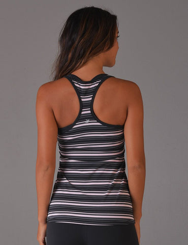 Performa Tank: Pink & Grey & Black Stripe