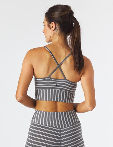 Premier Bra: Charcoal Heather/White Stripe