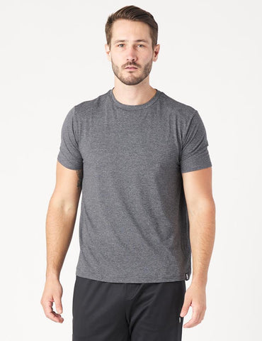 Salton Short Sleeve: Black Melange Stripe