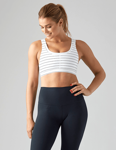 Define Sports Bra: White / Black Pinstripe