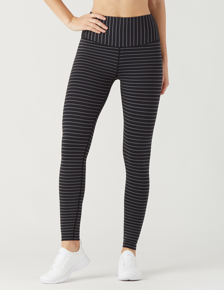Sultry Legging: Black / Silver Double Shimmer Stripe