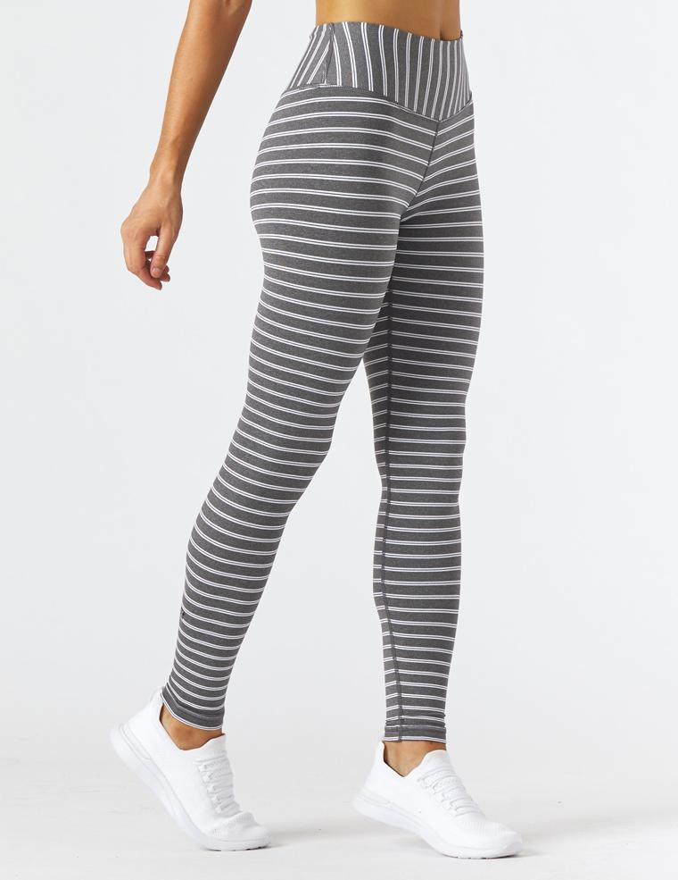 Sultry Legging: Charcoal Heather/White Stripe