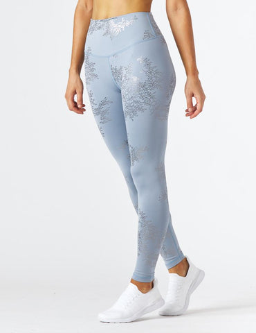 Sultry Legging Print: French Blue/Silver Lace Gloss