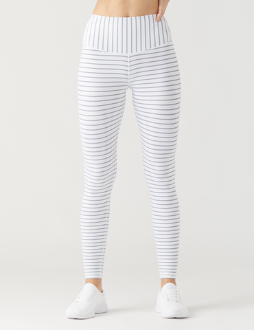 Sultry Legging: White / Mist Double Shimmer Stripe