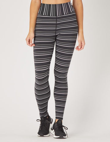 Sultry Legging: Black / Grey / White Stripe