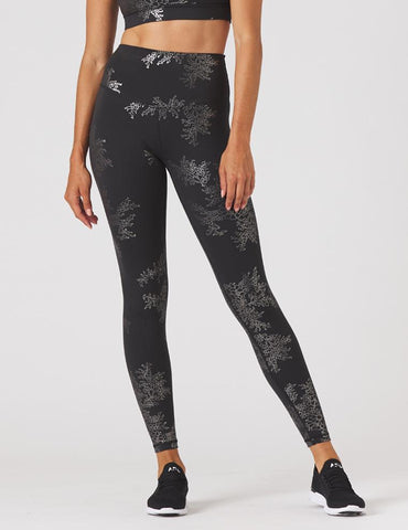 Sultry Legging Print: Black/Silver Gloss Lace