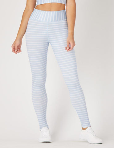 Sultry Legging: Ice Blue / White Pinstripe