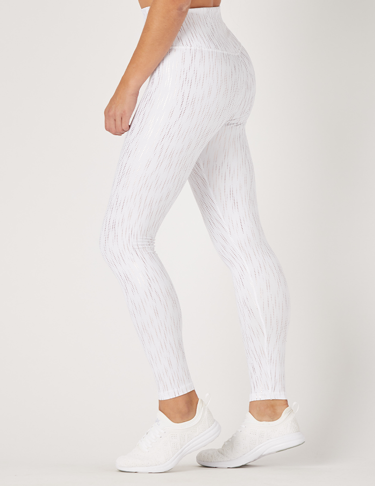 Sultry Legging Print: White / Rose Gold Dew Drop Gloss