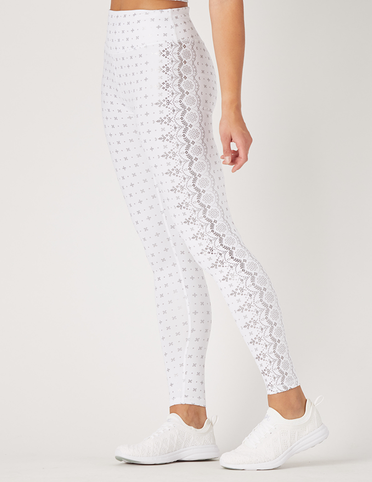Sultry Legging Print: White Gloss Wildflower Lace Print