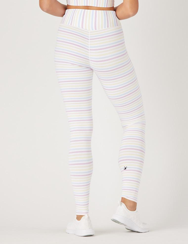 Sultry Legging: White / Rainbow Stripe