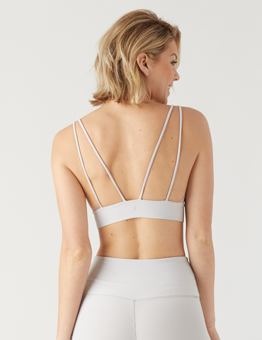 Sweetheart Sports Bralette: Sand Vertical Stripe