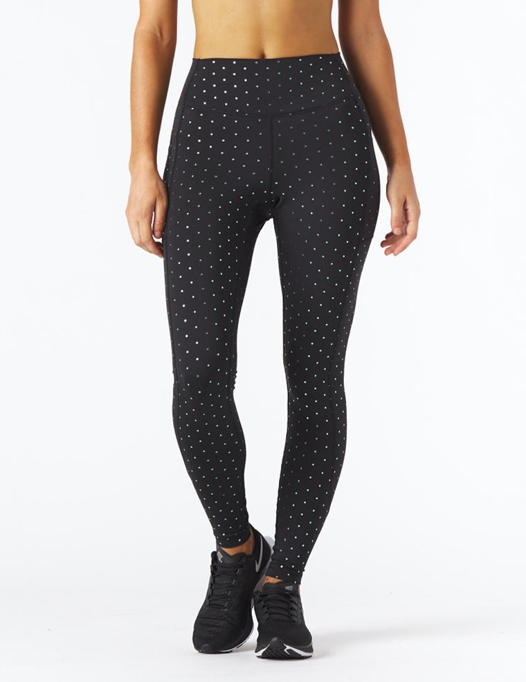 Taper Legging Print: Black/Blue Polka Dot Gloss
