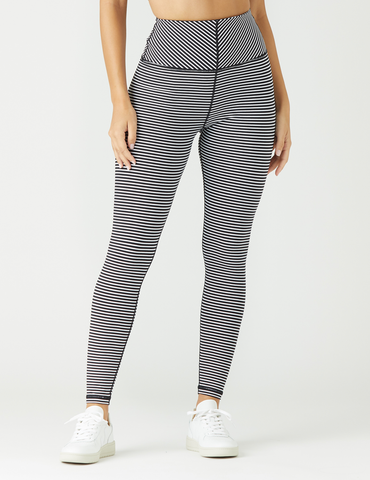 True Legging: Black / White Stripe
