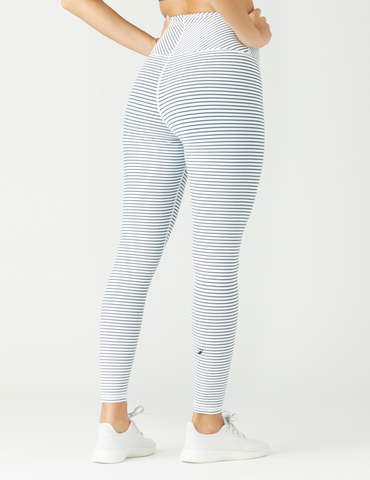 True Legging: White / Dark Teal Stripe