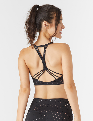 Vitality Bra: Black / Rosewater Gloss Mini Dot Print