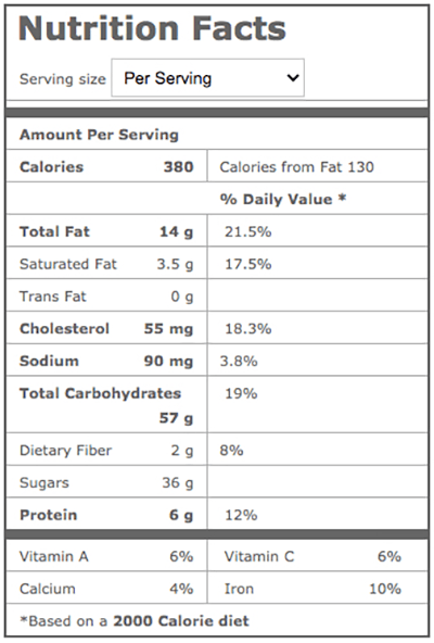 Assumption Abbey Fruitcake Nutrition Facts