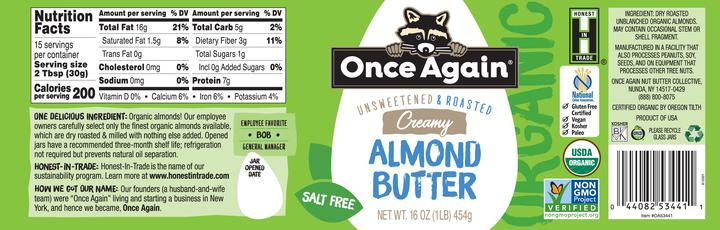 Once Again Almond Butter Nutrition Facts