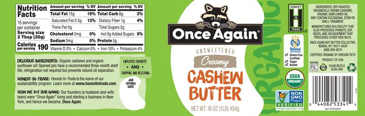 Once Again Cashew Butter Nutrition Facts