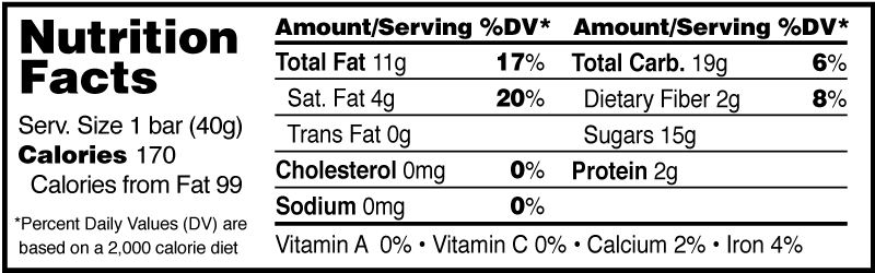 Monks' Chocolate Espresso Fruit and Nut Bar Nutrition Facts