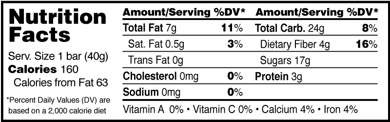 Monks' Cranberry Almond Fruit and Nut Bar Nutrition Facts