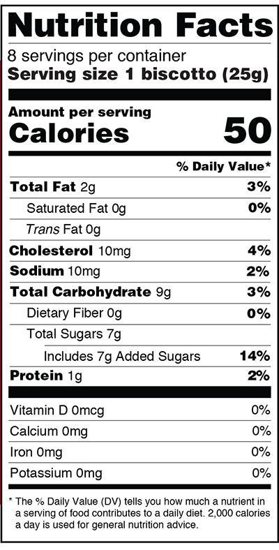 Monks' Cranberry Orange Biscotti Nutrition Facts